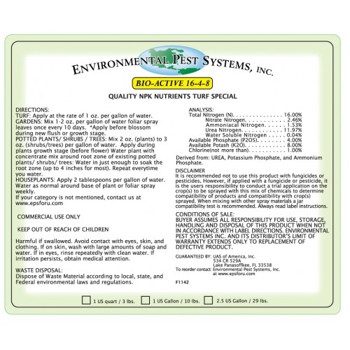 Environmental Pest Systems Bio-Active 16-4-8